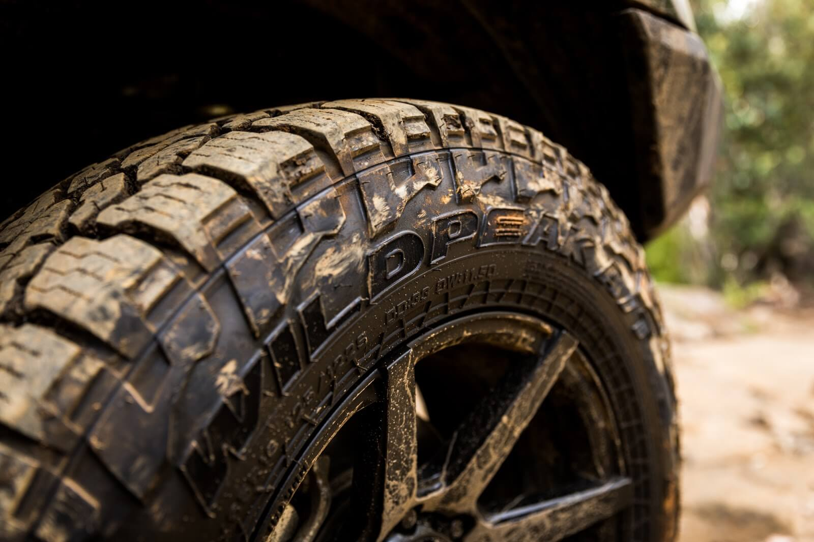 all-terrain tyres in the mud while 4WD'ing