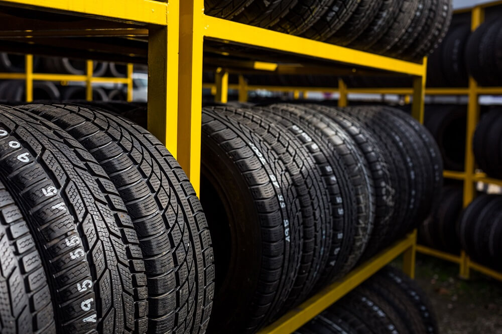 Close up view of tyres lined up in a row