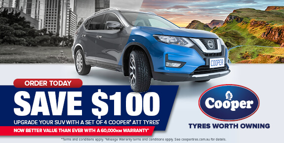 Order Today and save $100 - upgrade your suv with a set of 4 cooper ATT tyres