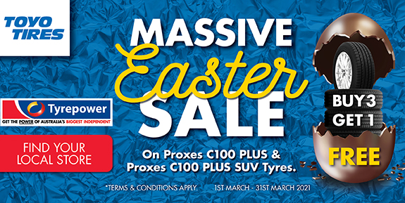 Massive Easter Sale - Buy 3 Get 1 Free on Proxes C100 Plus & Proxes C100 Plus SUV Tyres