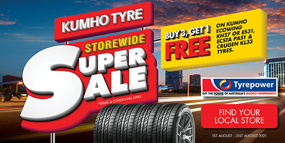 Buy 3, Get 1 Free on Kumho Ecowing KH27 or ES31, ECSTA PA51 & Crugen KL33 tyres.
