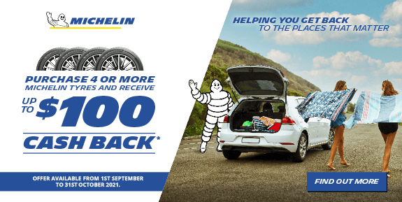 Purchase 4 or more Michelin tyres and receive up to $100 cash back