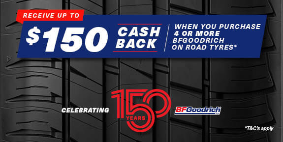 $150 Cash back when you purchase 4 or more BFGoodrich Tyres